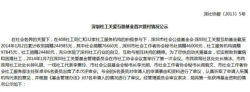 深圳社工关爱互助基金首次拨付情况公示 - 中国社工时报 - 中国社会工作人才服务平台