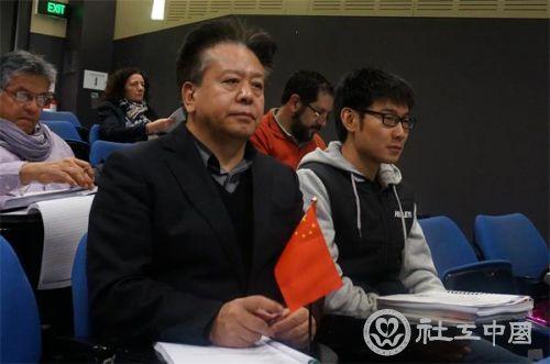赵蓬奇副会长在会场认真听取各代表工作汇报