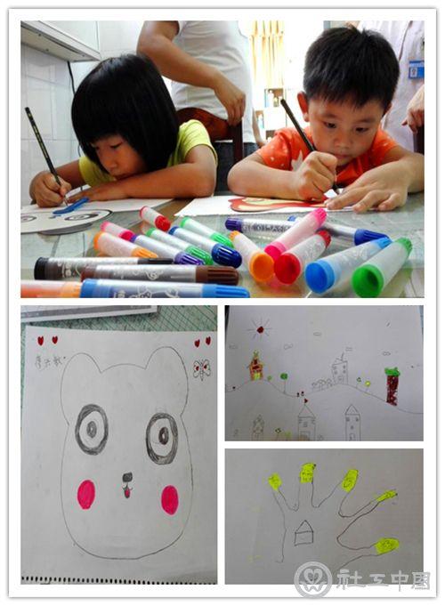投入画画过程的孩子及作品展示