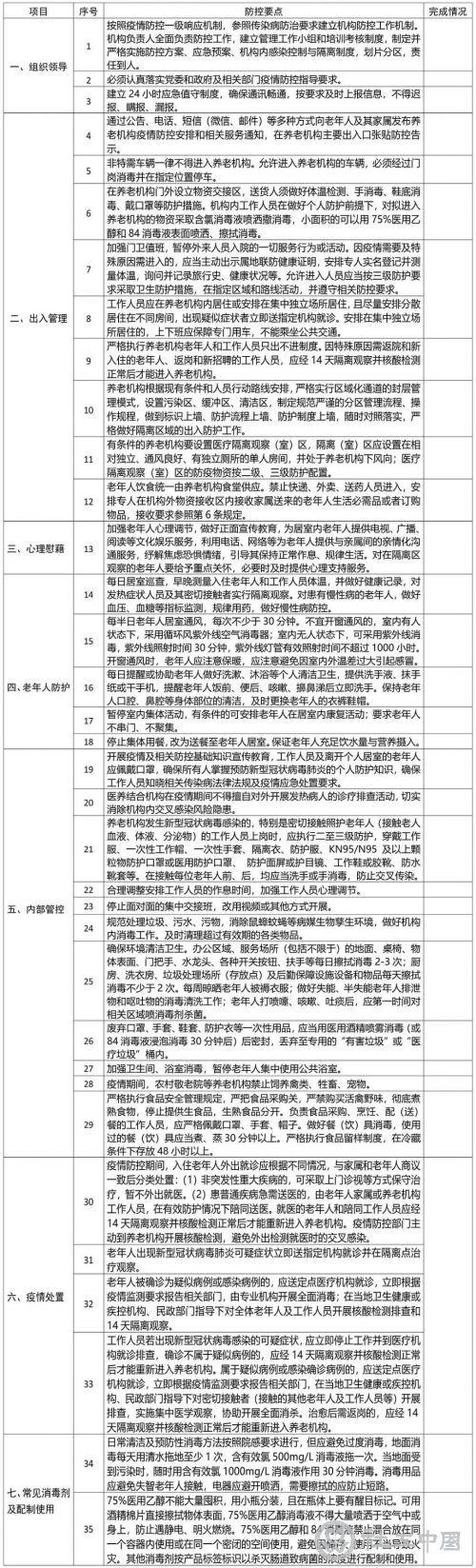 民政部公布疫情高风险地区及养老机构防控指南